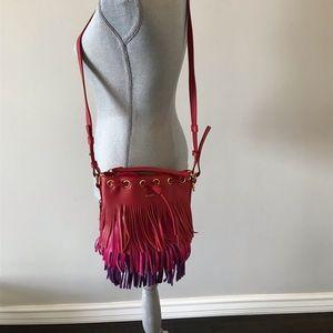 YSL-Red Tricolor Emmanuelle Fringe Bucket Bag